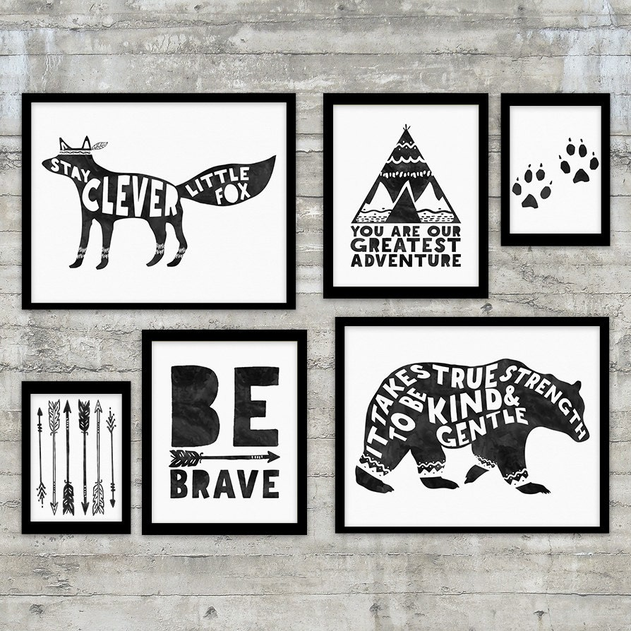 Tribal nursery art printable gallery wall set tribal for Black and white kitchen wall decor