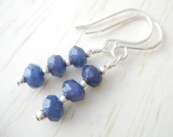 Blue Sapphire Earrings, Sterling Silver Genuine Gemstone Jewelry, Stone Beaded Drop Earrings, September Birthstone Birthday Gift for Her