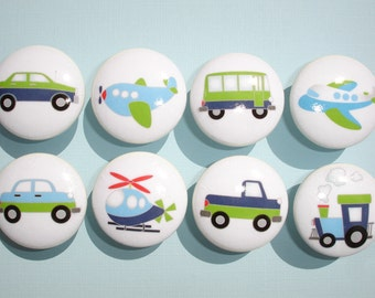 Set of 8 Boys Transportation Dresser Drawer Knobs Planes Trains and Cars