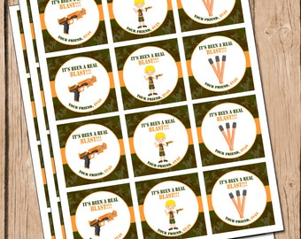 Boy's Dart Gun Party Favor Tags Dart War Favor Tag
