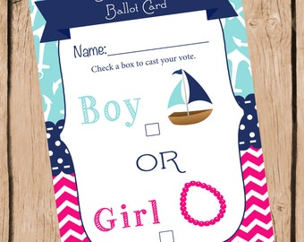 Nautical Gender Reveal Party Ballot Card