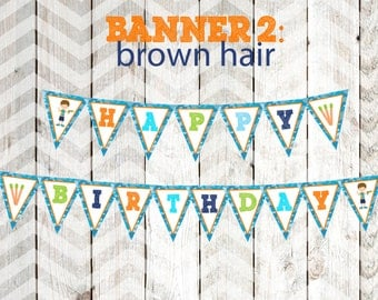 Boy's Dart Gun Party Banner Boy's Dart Tag Party Banner Happy Birthday Banner Brown Hair