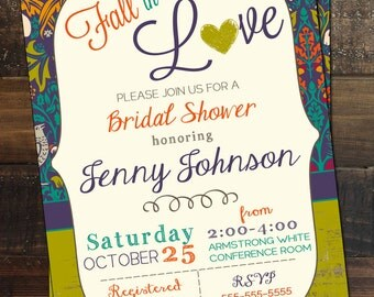 Fall Bridal Shower Invitation Fall Wedding Shower Invitation