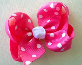 Large 4 inch Hot Pink and White dot Hair Bow