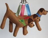 Pale Brown Border Terrier hand sewn felt bag charm