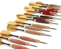 Wood steel tip darts. Custom set of darts, wood body, steel tip, brass nose and tail, black anodized aluminum shaft and gold flights - A3008