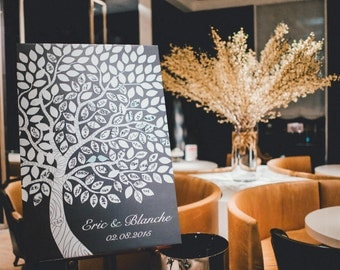 Wedding Guest Book Sign // Wedding Guest Book Ideas // Wedding Tree Guestbook // 16x20 // 55-150 Signatures // Canvas or Flat Print
