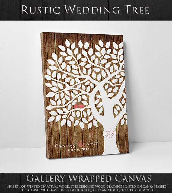 Wedding Guestbook Thumprint Tree Canvas A Great Wedding: Thumbprint Guestbook 55-150 Signature Fingerprint Tree