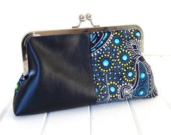 ON SALE Clutch Purse,  Faux Leather Purse, Fabric Purse, Fabric Clutch, Black Vinyl Clutch, Handmade Purse, Aboriginal Fabric Clutch