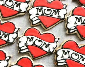 Mom Tattoo Iced Shortbread Cookies - 1 Dozen