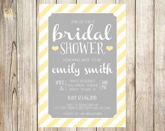 Gray and Yellow Bridal Shower Invitation