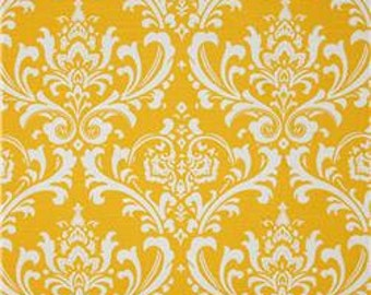 Damask Print Yellow Decorative Indoor Pillow Cover with Hidden Zipper