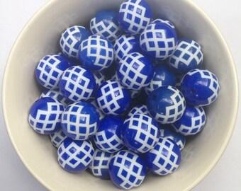 20mm Royal Blue Zig Zag Basket Weave Striped Beads