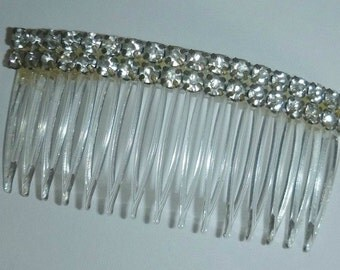 Vintage Clear Rhinestone Hair Comb, 60s Hair Jewelry Accessory Comb Classic Style 1960s Rhinestone, Decorative Hair Ornament, Bridal Wedding