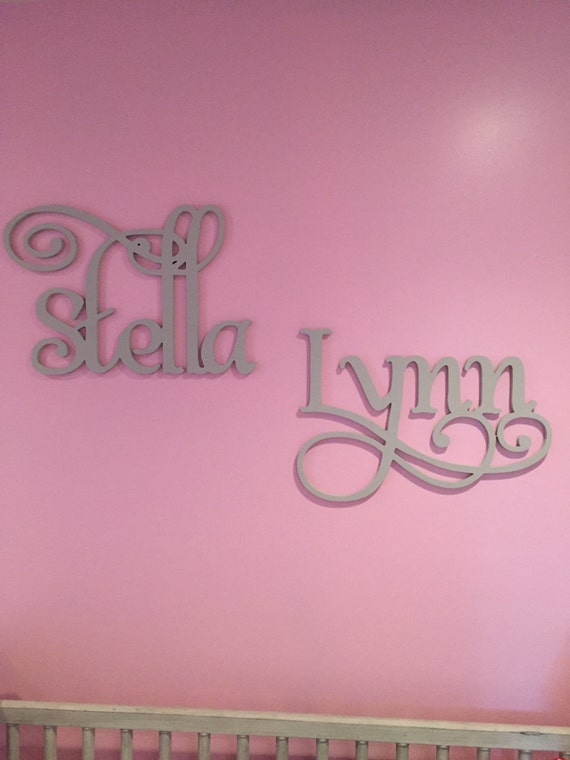 Wooden Script Name Word Or Phrase Painted Large Cursive Letters