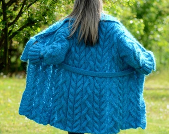 READY to SHIP Hand Knit Mohair Shawl Coat Cardigan Turquoise Fuzzy Sweater Jacket by EXTRAVAGANTZA