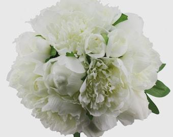 White Peony Bridal Bouquet - Silk Peony Keepsake Bouquet for Bride