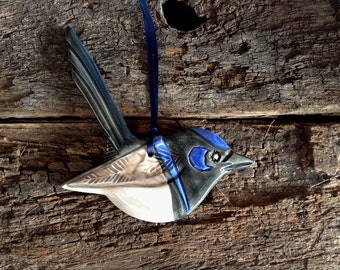 Handmade Ceramic Bird - Australian Male Superb Fairy Wren, Wall Hanging, Garden Decor.