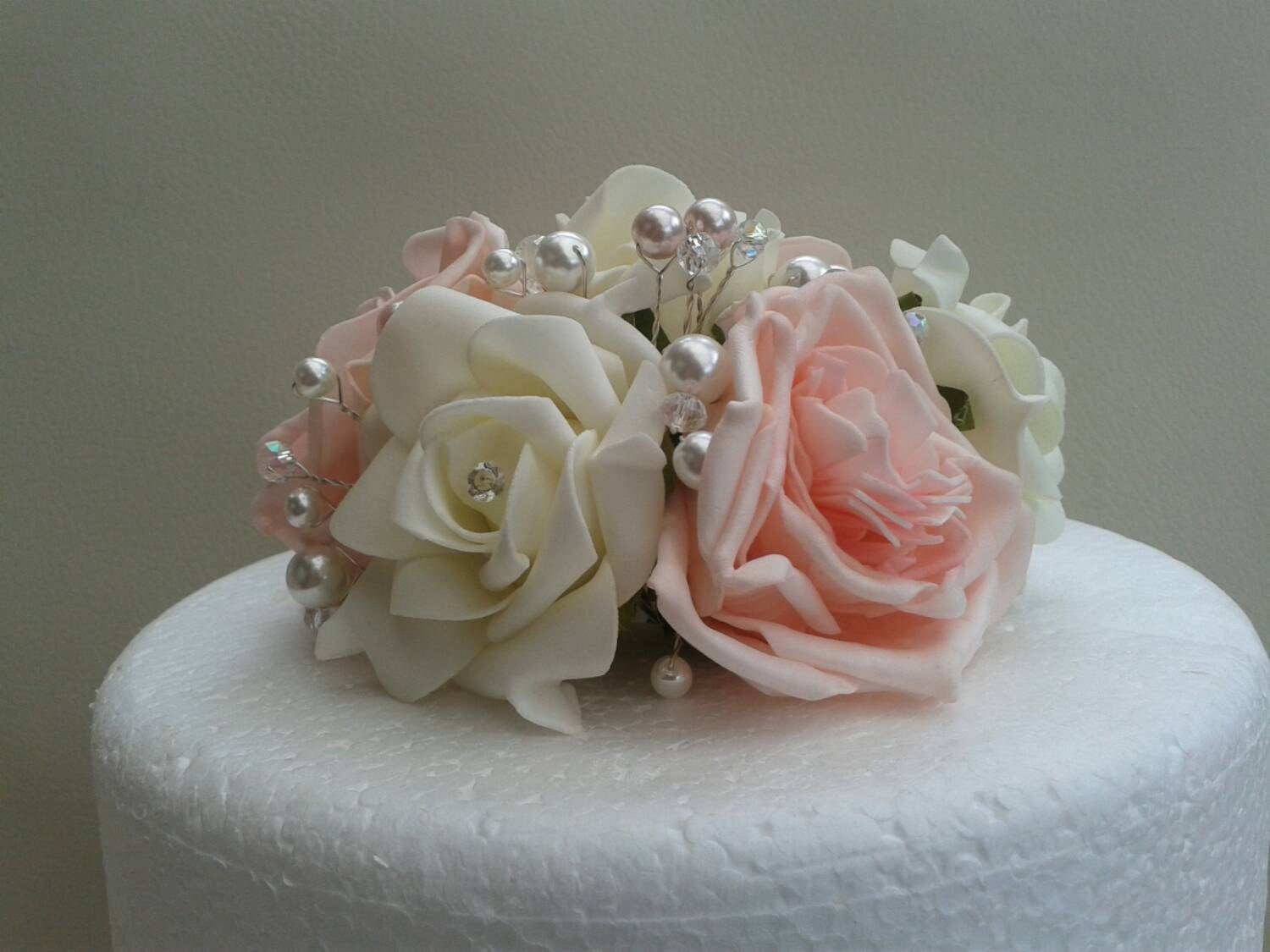Ivory rose cake topper.wedding cake topper.flower cake