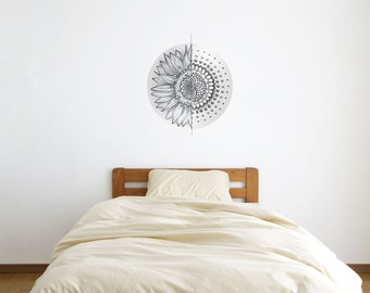 Geometric Sunflower Splice Vinyl Wall Art Sticker by Kitty Foster