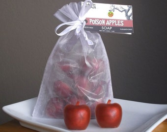 APPLE SOAP - Poison Apples, Princess Party, Halloween Soap, Stocking Stuffer, Soap Gift, Guest Soap - 12 Piece