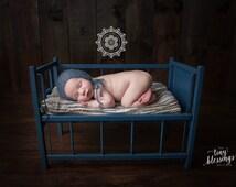 SALE Slate Blue Mohair Baby Boy Bonnet Newborn Photo Prop Mohair Newborn Prop
