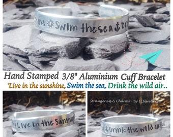 "Hand stamped 'Sunshine, Sea, Wild Air' 1/2"" Aluminium Cuff Bracelet, Quote Jewelry, Summer Jewellery, Emerson, Swim the Sea, Anchor."