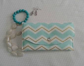 Small Jewelry travel case, Earring Organizer, Bracelet Organizer, Jewelry Roll - Aqua and Gold Chevron