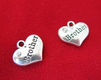 "5pc ""Brother"" charms in antique silver style (BC639)"