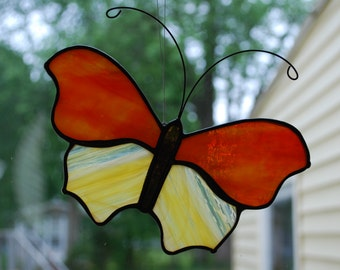 Orange and Yellow Stained Glass Butterfly