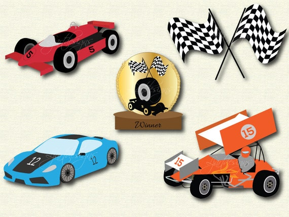 Race Cars Clipart Clip Art Digital Elements Racing