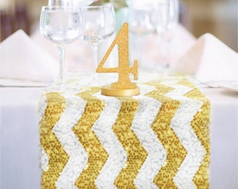 Chevron Gold and White Sequin Table Runner READY TO SHIP Sparkly Bright Gold and White Table Decor for Wedding Reception, Ceremony Events