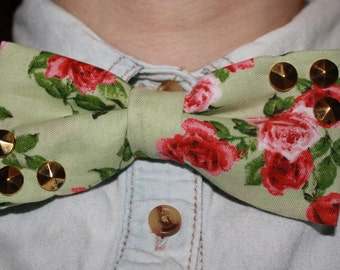 Adjustable Mint/Pink Floral Studded Bow Tie