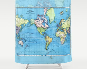 World Mercator Map Shower Curtain -  historical map, colorful, vintage map - Blue map, Home Decor - Bathroom - travel, green vibrant, kids