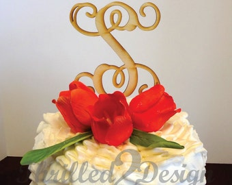 8 inch Single Vine Letter Cake Topper - Celebrate, Party, Cake Decoration, Bride, Groom