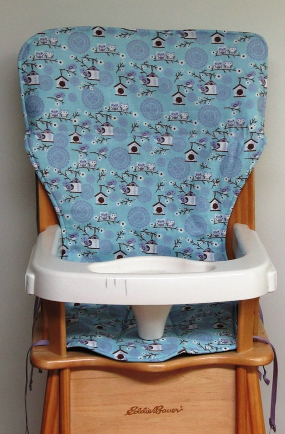 Eddie Bauer High Chair Pad Replacement Cover Lavender Birds
