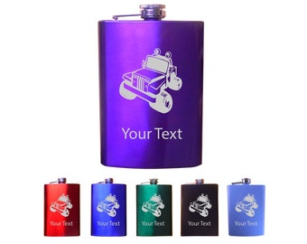 Personalized engraved Jeep 8 Oz Custom Stainless Steel Pocket Hip Flask
