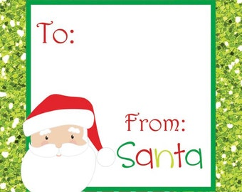 Glitter Santa Holiday Tags
