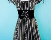 Genevieve peasant dress pirate off shoulder black stripe