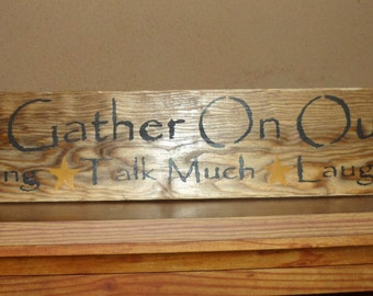 """Hand Crafted Rustic Primitive """"Come Gather On Our Porch Sit Long Talk Much Laugh Often"""" Stars Wood Sign Home Decor Wall Hanging"""