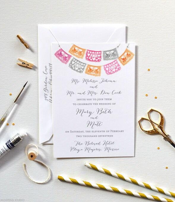 Wedding Invitation Papel Picado Wedding Invitation Mexican