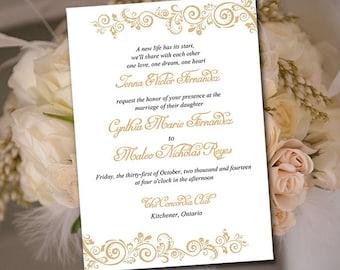 "Printable Wedding Invitation Template - Instant Download DIY Wedding Template - ""Allure"" Chardonnay Printable Wedding Invitation Card"