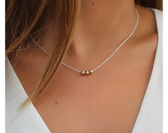 dainty gold necklace • gold ball necklace • gold filled beads necklace • gold filled ball • sterling silver beads • beaucoupdebeads • 109