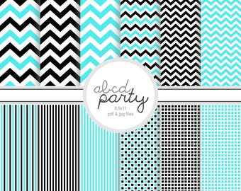 Instant Download Blue and Black Digital Chevron Papers ( PDCH107)