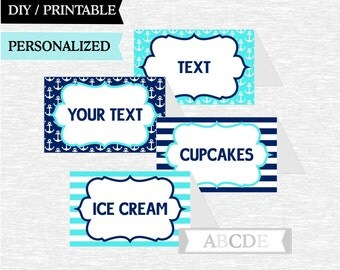 Aqua and Navy Personalized Nautical Party Food Labels, Baby shower, Birthday food labels, DIY Printable ( PDN004 )