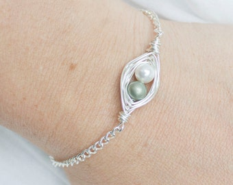 Two Peas in a Pod - Gift for Mom - Peas in a Pod Bracelet - Mom of Twins - Pregnant with Twins - Miscarriage Bracelet - Miscarriage Jewelry