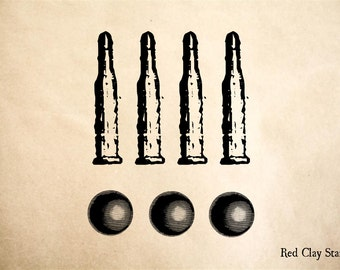 Bullets and Shot Rubber Stamp - 2 x 2 inches