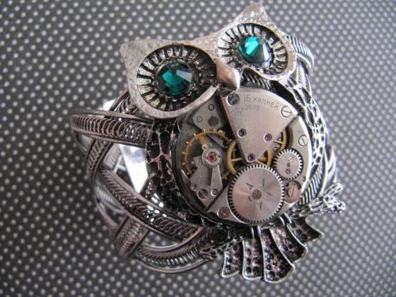 Steampunk, Steampunk Bracelet, bijoux, chouette Brassard, montre, bijoux Steampunk, Neo