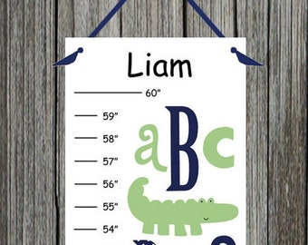 Personalized Nantucket Green ABC Alligator Canvas Growth Chart