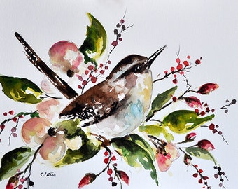 ORIGINAL Watercolor Bird Painting, Wren With Flowers Illustration, Colorful Watercolor Flowers 6x8 Inch